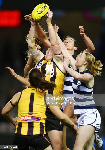 Meg Hutchins and Rebecca Beeson of Hawthorn celebrate with the trophy after winning the VFLW Grand Final match between Hawthorn and Geelong at Etihad...