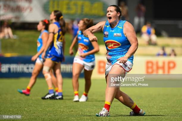 Sarah Perkins of the Suns celebrates a goal during the 2021 AFLW Round 05 match between the West Coast Eagles and the Gold Coast Suns at Mineral...