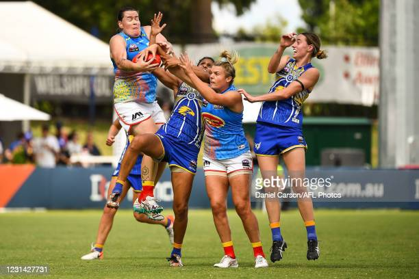 Sarah Perkins of the Suns takes a pack mark during the 2021 AFLW Round 05 match between the West Coast Eagles and the Gold Coast Suns at Mineral...
