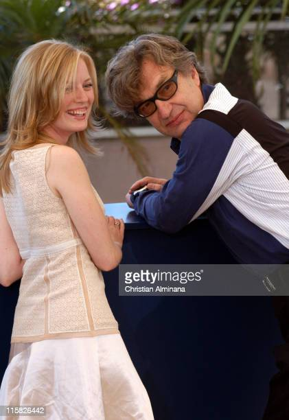 Sarah Polley and Kim Wenders during 2005 Cannes Film Festival 'Don't Come Knocking' Photocall at Terrasse Riviera in Cannes France