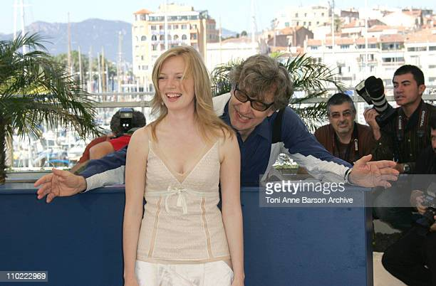 Sarah Polley and Wim Wenders during 2005 Cannes Film Festival 'Don't Come Knocking' Photocall at Terrasse Riviera in Cannes France