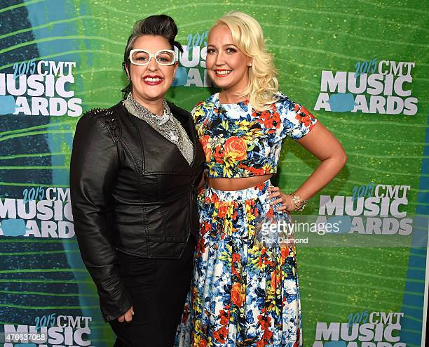 Sarah Potenza and Meghan Linsey attend the 2015 CMT Music awards at the Bridgestone Arena on June 10 2015 in Nashville Tennessee