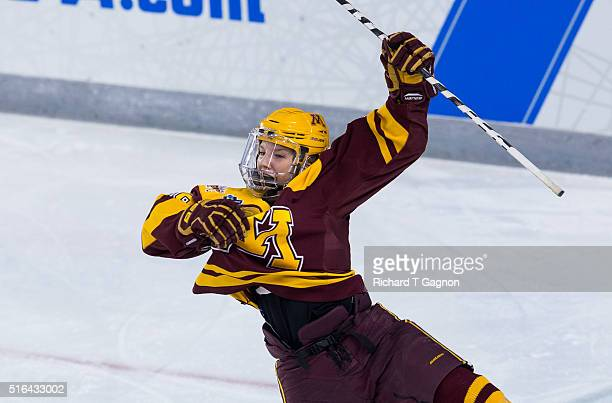 Sarah Potomak of the Minnesota Golden Gophers celebrates after she scored the winning goal in overtime against of the Wisconsin Badgers during game...