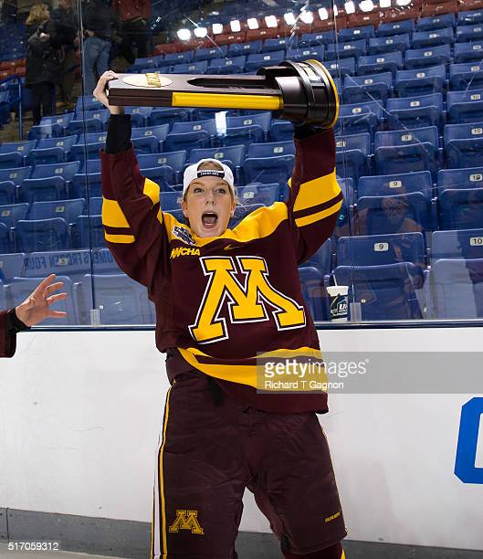 Sarah Potomak of the Minnesota Golden Gophers celebrates after winning the 2016 NCAA Division I Women's Hockey Frozen Four Championship against the...