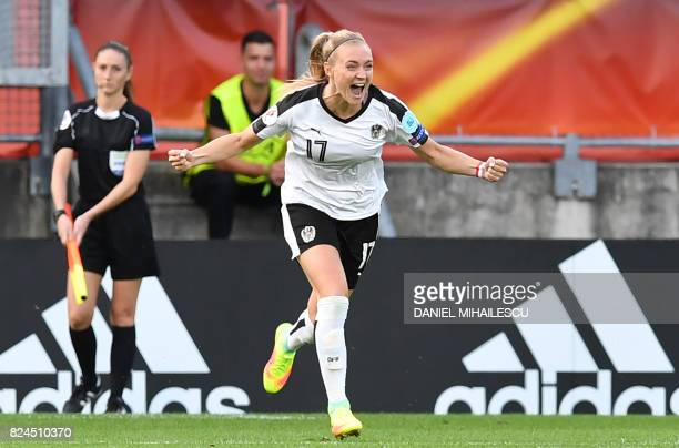 Sarah Puntigam of Austria celebrates a penalty goal during the UEFA Womens Euro 2017 quarterfinal football match between Austria and Spain at the...