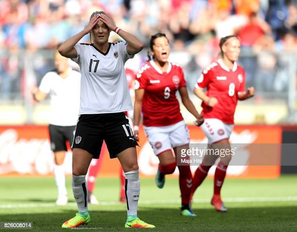 Sarah Puntigam of Austria reacts after missing a penalty during the UEFA Women's Euro 2017 Semi Final match between Denmark and Austria at Rat...