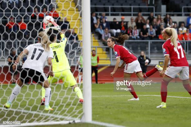 Sarah Puntigam of Austria women goalkeeper Manuela Zinsberger of Austria women Simone Boye Sorensen of Denmark Line Jensen of Denmark during the UEFA...