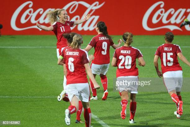 Sarah Puntigam of Austria women Sarah Zadrazil of Austria women during the UEFA WEURO 2017 Group C group stage match between Iceland and Austria at...