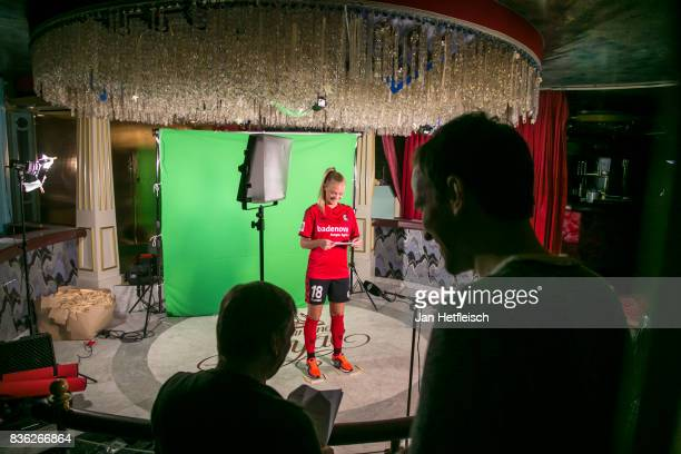 Sarah Puntigam of SC Freiburg poses during the Allianz Frauen Bundesliga Club Tour on August 21 2017 in Warth Austria