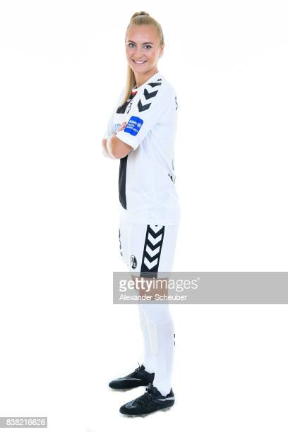 Sarah Puntigam of SC Freiburg poses during the Allianz Frauen Bundesliga Club Tour at Elbigenalp on August 21 2017 in Elbigenalp Austria