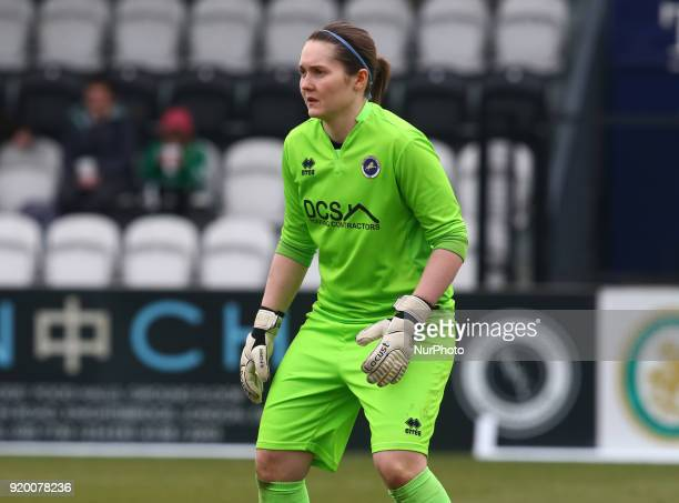 Sarah Quantrill of Millwall Lionesses L during The FA Women's Cup Fifth Round match between Arsenal against Millwall Lionesses at Meadow Park...