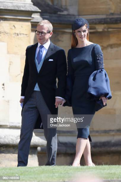 Sarah Rafferty and her husband Santtu Seppala arrive at the wedding of Prince Harry to Ms Meghan Markle at St George's Chapel Windsor Castle on May...