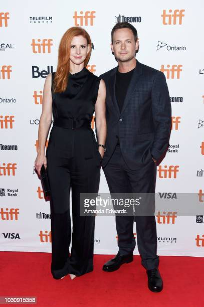 Sarah Rafferty and Patrick J Adams attend the Clara premiere during 2018 Toronto International Film Festival at Ryerson Theatre on September 10 2018...