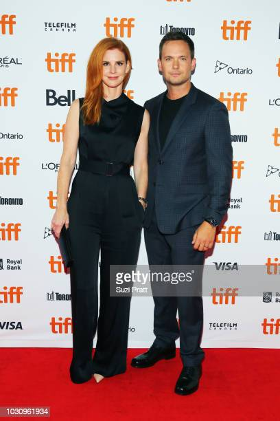 Sarah Rafferty and Patrick J Adams attend the 'Clara' premiere during 2018 Toronto International Film Festival at Ryerson Theatre on September 10...