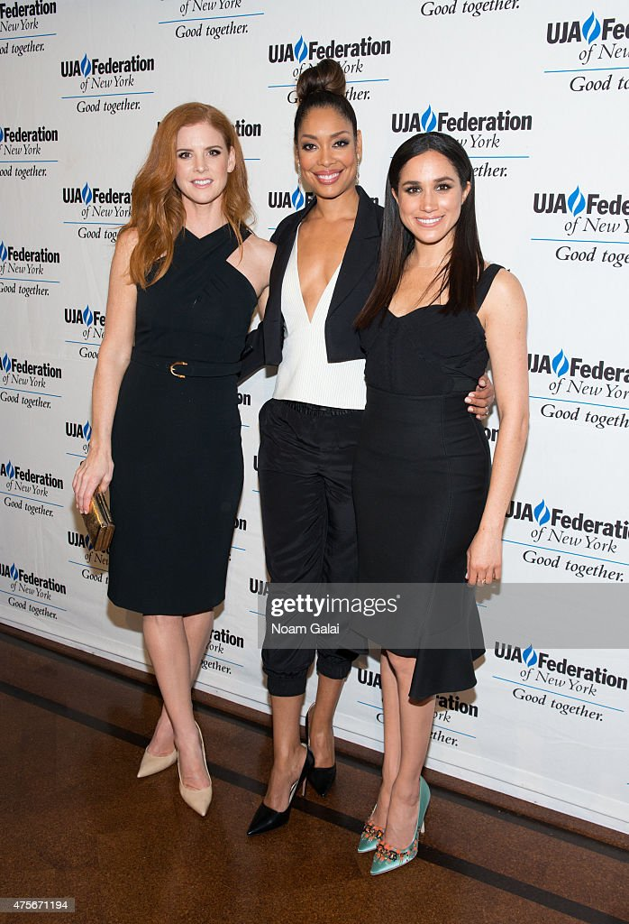 Sarah Rafferty, Gina Torres and Meghan Markle attend the UJA-Federation New York's Entertainment Division Signature Gala at 583 Park Avenue on June 2, 2015 in New York City.