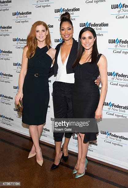 Sarah Rafferty Gina Torres and Meghan Markle attend the UJAFederation New York's Entertainment Division Signature Gala at 583 Park Avenue on June 2...