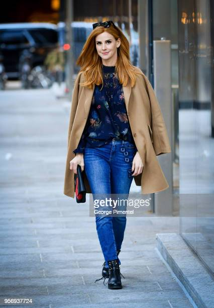 Sarah Rafferty is seen with Marc Cain's Limited Edition Charity Bag Heart on April 28 2018 in Toronto Canada
