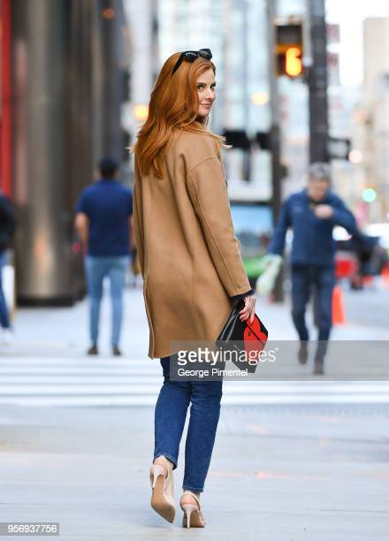 Sarah Rafferty is seen with Marc Cain's Limited Edition Charity Bag 'Heart' on April 28 2018 in Toronto Canada
