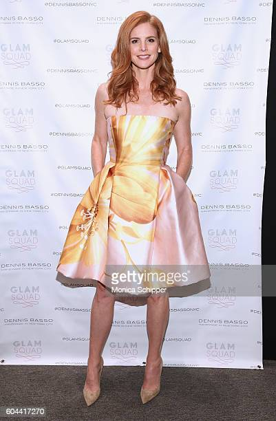 Sarah Rafferty poses for a photo backstage at the Dennis Basso fashion show during New York Fashion Week The Shows at The Arc Skylight at Moynihan...