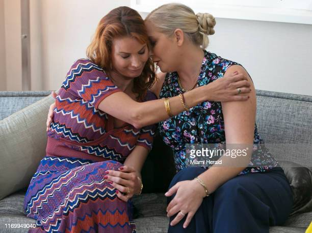 Sarah Ransome and Virginia Roberts Giuffre comfort each other as they talk about the abuse they both suffered by Jeffrey Epstein and his...