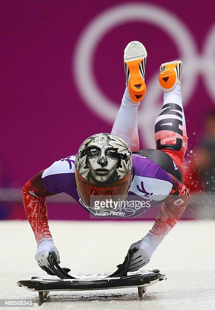 Sarah Reid of Canada makes a run during a Women's Skeleton training session on Day 4 of the Sochi 2014 Winter Olympics at the Sanki Sliding Center at...