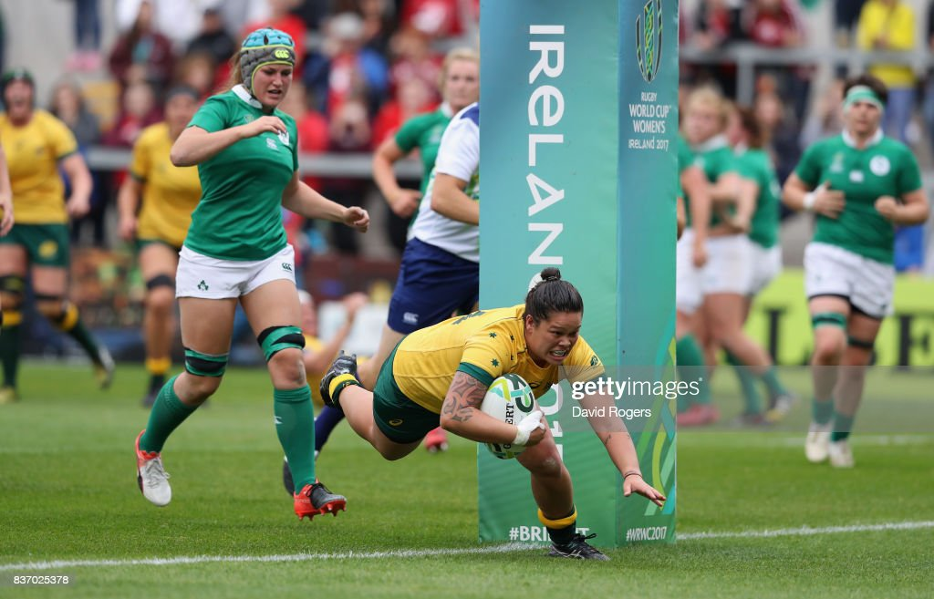 Sarah Riordan of Australia dives over for a try during the Women's Rugby World Cup 2017 match between Ireland and Australia at the Kingspan Stadium on August 22, 2017 in Belfast, United Kingdom.