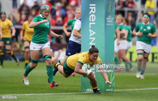 Sarah Riordan of Australia dives over for a try during the Women's Rugby World Cup 2017 match between Ireland and Australia at the Kingspan Stadium...