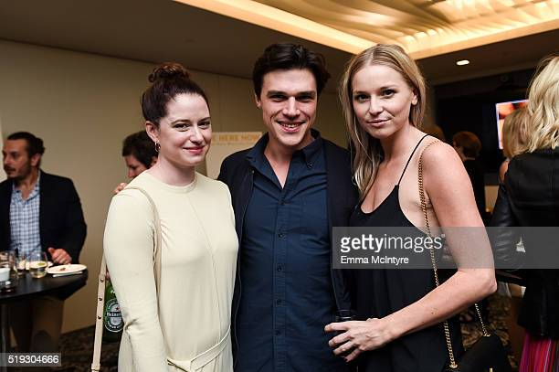 Sarah Roberts and actor Finn Wittrock attend the after party for the premiere of 'Be Here Now' at UTA Theater on April 5 2016 in Los Angeles...