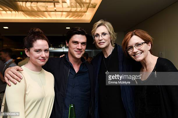Sarah Roberts and actors Finn Wittrock and Jane Lynch attend the after party for the premiere of 'Be Here Now' at UTA Theater on April 5 2016 in Los...