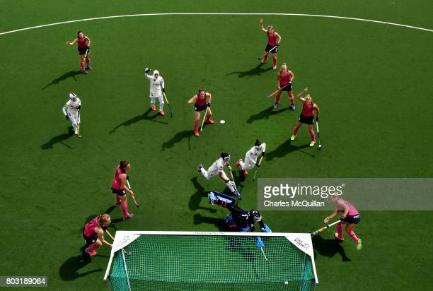 Sarah Robertson of Scotland scores from a penalty corner during the Fintro Hockey World League SemiFinal 9th/10th playoff game between Scotland and...