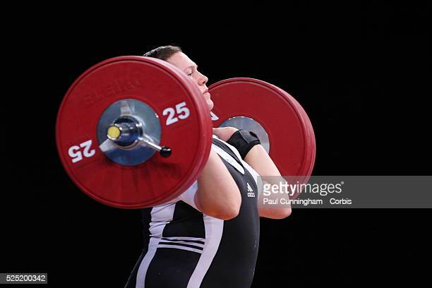 Sarah Robles of the USA competes in the Women's 75kg Group A weight lifting program during the London Prepares Olympic 2012 Test Event at the ExCel...