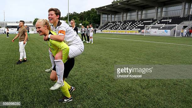 Sarah Rolle and Pauline Berning of Guetersloh celebrate after the U17 Girl's German Championship Semi Final Second Leg match between FSV Guetersloh...