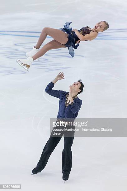 Sarah Rose and Joseph Goodpaster of the United States compete during the Junior Pairs Free Skating on day two of the ISU Junior Grand Prix of Figure...