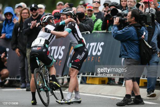 Sarah Roy celebrates with Grace Brown during the Road Race as part of the Road National Championships on February 7, 2021 in Ballarat, Australia.
