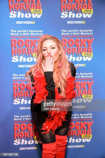 Sarah Roza attends the opening of the Rocky Horror Show at Her Majesty's Theatre on July 18 2018 in Melbourne Australia