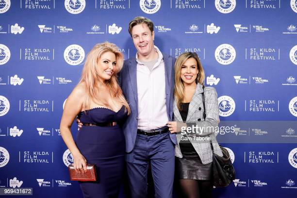 Sarah Roza Troy Delmege and Carly Bowyer arrives for St Kilda Film Festival 2018 Opening Night on May 17 2018 in Melbourne Australia