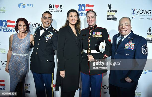 Sarah Rudder Michael Kacer Bridget Moynahan Aaron Mankin and Israel Del Toro attend attend 10th Annual Stand Up For Heroes at The Theater at Madison...