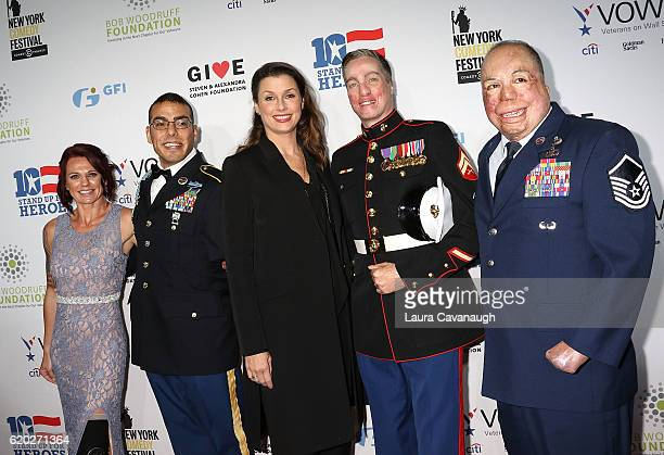 Sarah Rudder Michael Kacer Bridget Moynahan Aaron Mankin and Israel Del Toro attend 10th Annual Stand Up For Heroes Arrivals at The Theater at...