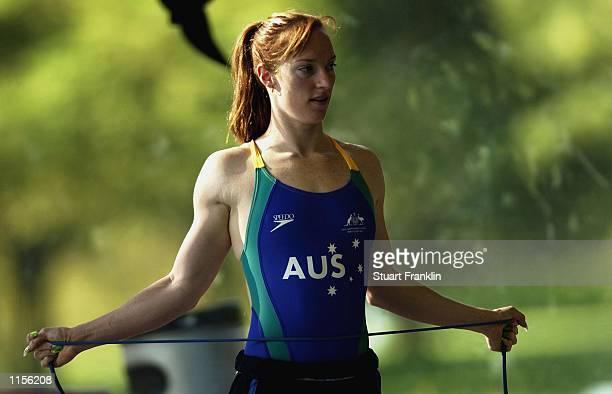 Sarah Ryan during Australian swimming team training at Sindelfingen near Stuttgart in Germany on 23 July 2002