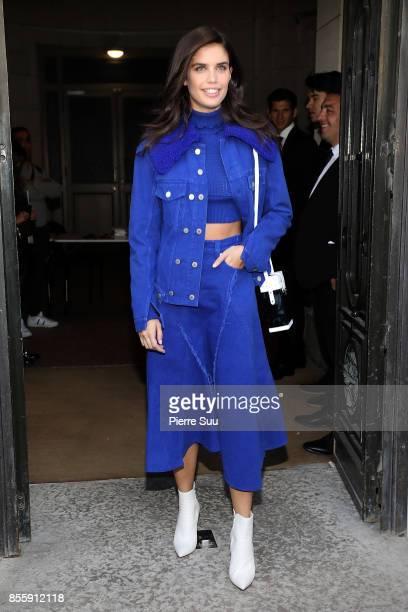 Sarah Sampaio leaves the Elie Saab show as part of the Paris Fashion Week Womenswear Spring/Summer 2018 on September 30 2017 in Paris France