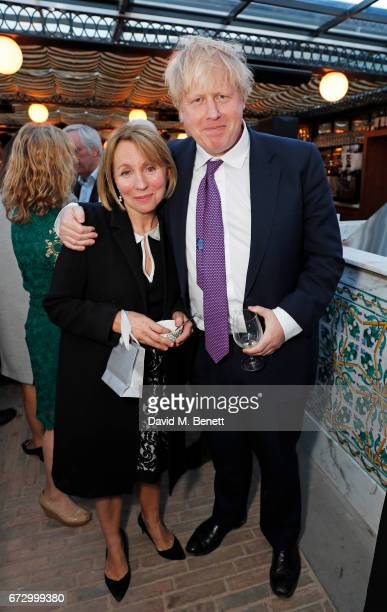 Sarah Sands and Boris Johnson attend Sarah Sands' leaving party hosted by The Evening Standard on the rooftop at Ned's Club Upstairs during the...