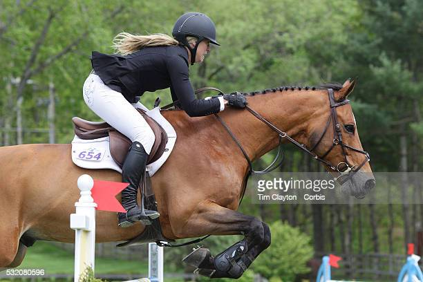 Sarah Scheiring USA riding Dontez in action during The $50000 Old Salem Farm Grand Prix presented by The Kincade Group at the Old Salem Farm Spring...