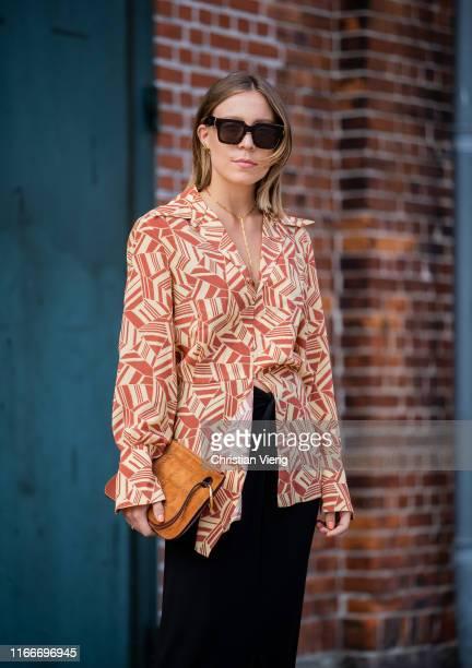 Sarah Schäfer seen outside Rodebjer during Copenhagen Fashion Week Spring/Summer 2020 on August 07, 2019 in Copenhagen, Denmark.