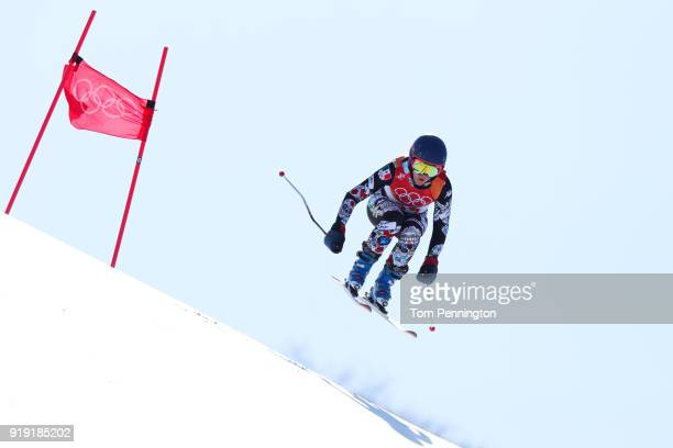 Sarah Schleper of Mexico competes during the Alpine Skiing Ladies SuperG on day eight of the PyeongChang 2018 Winter Olympic Games at Jeongseon...