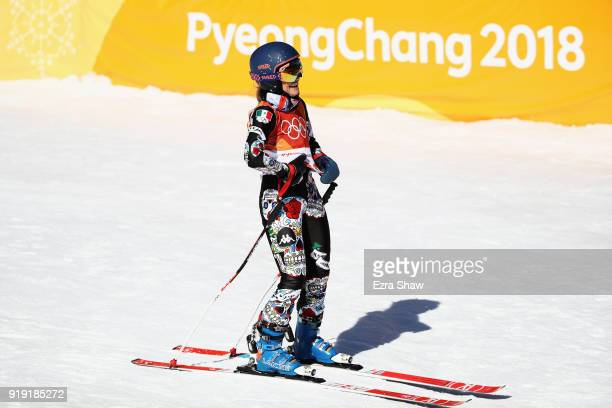 Sarah Schleper of Mexico reacts at the finish during the Alpine Skiing Ladies SuperG on day eight of the PyeongChang 2018 Winter Olympic Games at...