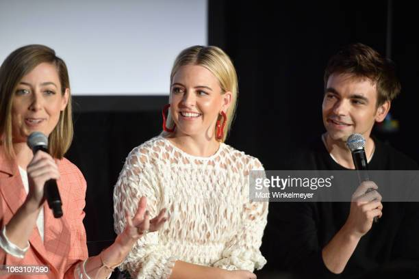 Sarah Schneider Helene Yorke and Drew Tarver speak onstage during 'The Other Two with Fred Armisen' during the Vulture Festival presented by ATT at...