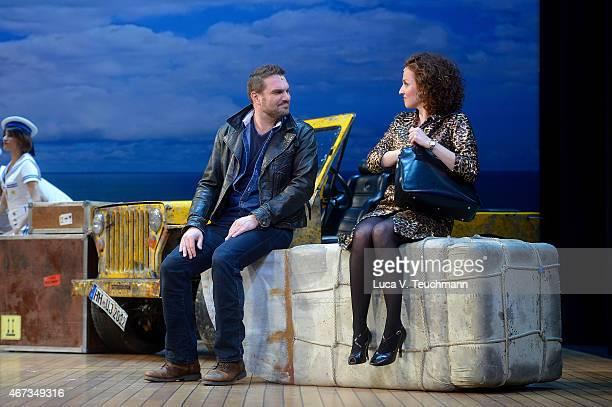 Sarah Schuetz and Karim Khawatmi during the 'Ich war noch niemals in New York' photo rehearsal at Theater des Westens on March 23 2015 in Berlin...