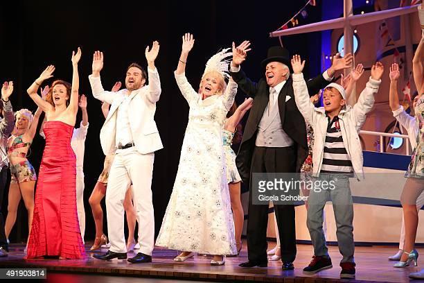 Sarah Schuetz Karim Khawatmi Ellen Kessler and Gunter Sonneson during the Munich premiere of the musical 'Ich war noch niemals in New York' at...