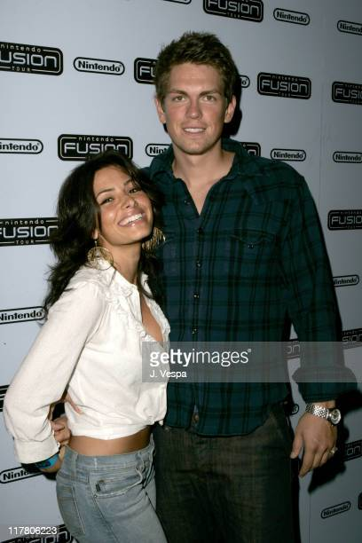 Sarah Shahi and Steve Howey walk the blue carpet at the Sept 27th Hollywood party to kick off the Nintendo Fusion Tour The 39city tour features the...