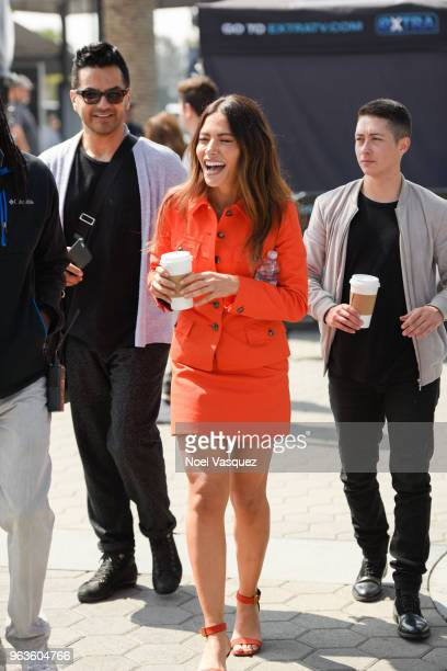 Sarah Shahi visits Extra at Universal Studios Hollywood on May 29 2018 in Universal City California